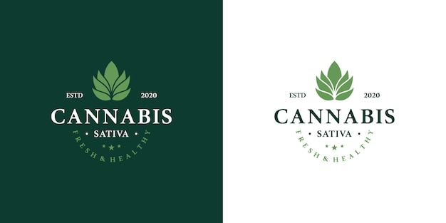 Marijuana health medical cannabis logo set