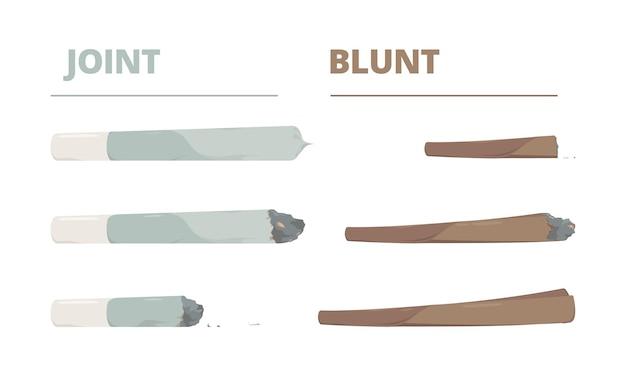 마리화나 조인트. 마약 담배 연기 대마초 대마초 벡터 삽화는 만화 스타일로 되어 있습니다. 대마초 잡초 조인트, 마약 롤링 흡연, 셀프 롤 간자