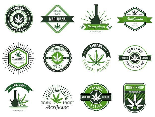 マリファナのラベル。喫煙雑草、大麻ジョイント、ハシシまたは雑草喫煙装置。マリファナの種のイラストセット