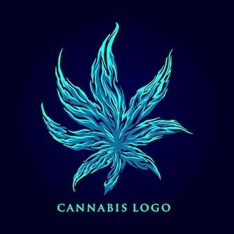 マリファナの葉の抽象的なロゴ会社のイラスト