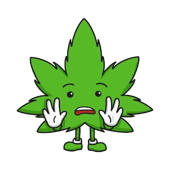 Marijuana leaf cartoon character hand drawn