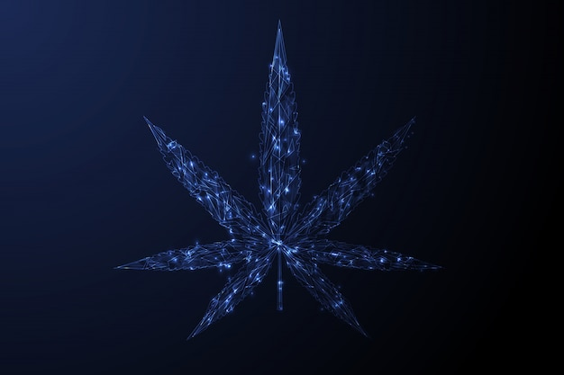 Marijuana leaf. low poly blue