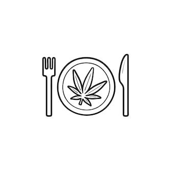 フォークとナイフの手描きのアウトライン落書きアイコンとプレート上のマリファナの葉。大麻食品レシピのコンセプト