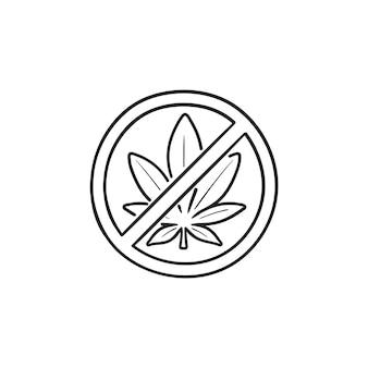 금지 기호가 있는 마리화나 잎. 마약 금지, 금연, 대마초 불법, 마약 금지 개념