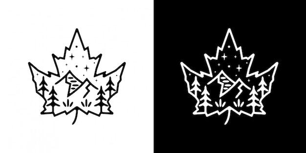 マウンテンモノラインデザインのマリファナの葉