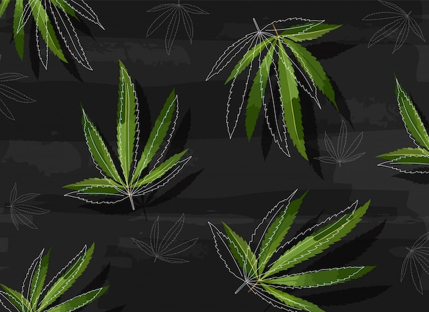 Marijuana leaves in line art style on black structured background