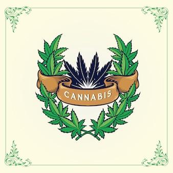 Марихуана оставляет логотип с лентой конопли