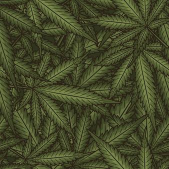 Marijuana leaves seamless pattern.