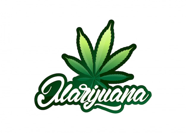 Marijuana in lettering style with leaf