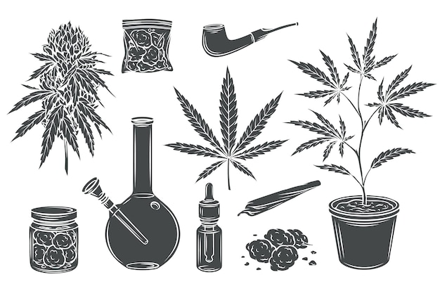 Marijuana monochrome glyph isolated set, hemp leaves and seeds, cannabis bud.