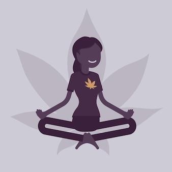 의료, 레크리에이션 목적의 마리화나 또는 대마초 약물. 연꽃 자세로 휴식을 취하는 여성, 행복한 환자는 증상이 있는 흡연 허브를 완화하고 마약 효과를 즐깁니다. 벡터 일러스트 레이 션, 얼굴 없는 캐릭터