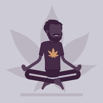 의료, 레크리에이션 목적을 위한 마리화나 또는 대마초 약물. 연꽃 자세로 휴식을 취하는 남자, 행복한 환자는 증상이 있는 흡연 허브를 완화하고 마약 효과를 즐깁니다. 벡터 일러스트 레이 션, 얼굴 없는 캐릭터
