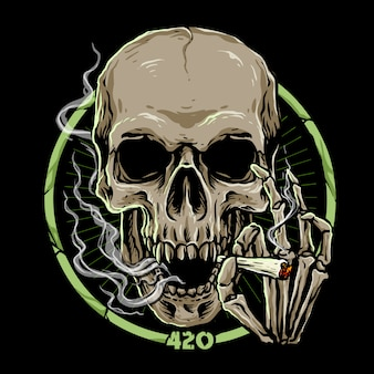 Marijuana skull on dark