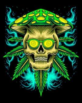 버섯 머리와 마리화나 두개골