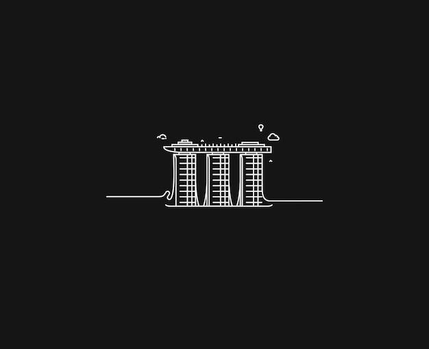 シンガポールのマリーナベイサンズ。フラットラインアートベクトルイラスト。
