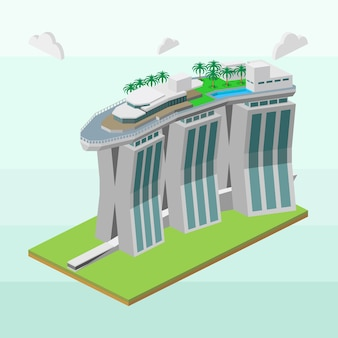Marina bay sands of singapore in isometric