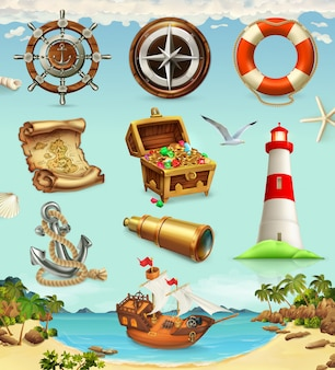 Marine adventure, game set, summer vacation