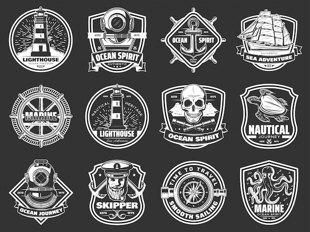 Marine adventure, ocean spirit nautical icons