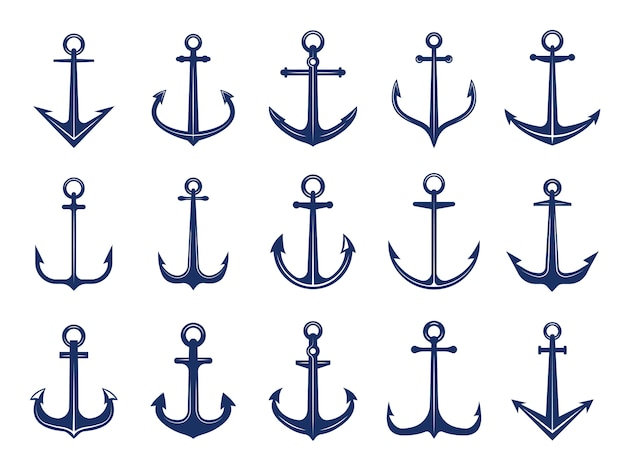 Marine anchor icons.  of navy symbols anchors ship or boat.  marine retro logotypes template