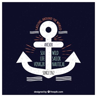 Marine anchors and sea messages cards