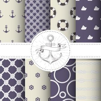 海洋と航海のパターン-海のテーマのシームレスパターンのセット