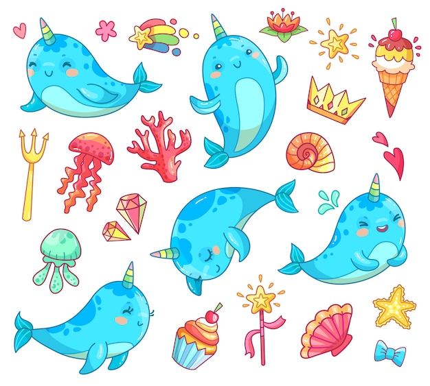 Marine animal kawaii character baby fairytale unicorn narwhal.