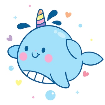 Marine animal kawaii character baby fairytale unicorn narwhal