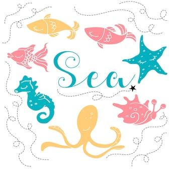 Marine animals background