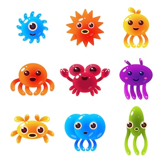 Marine animals balloon characters set