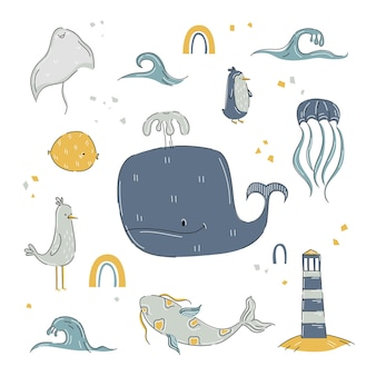 Marine animals in cartoon hand drawn style with whale, fishes, lighthouse
