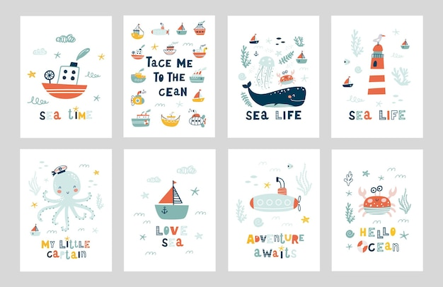 해양 동물 포스터 세트.