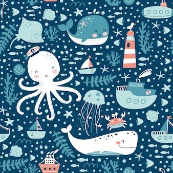 海洋動物のシームレスなパターン。 Premiumベクター