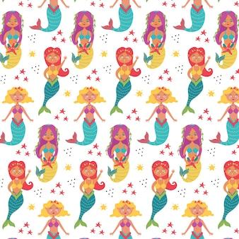 마린 베이비 패턴 인어 수중 세계