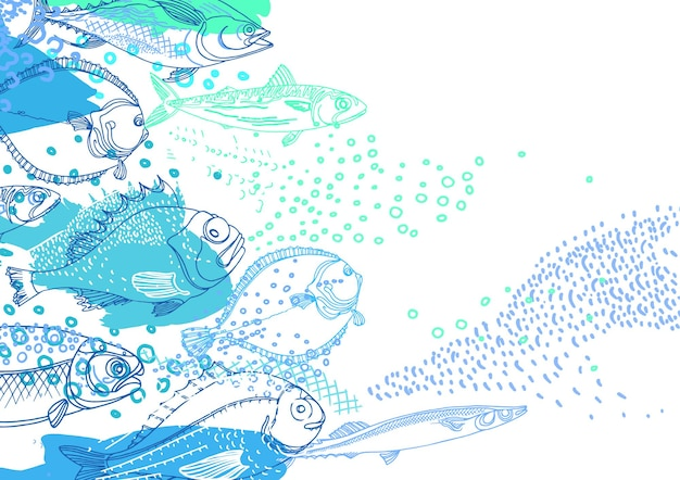 Marine background of nature sea fish doodle art illustration perch cod mackerel flounder saira