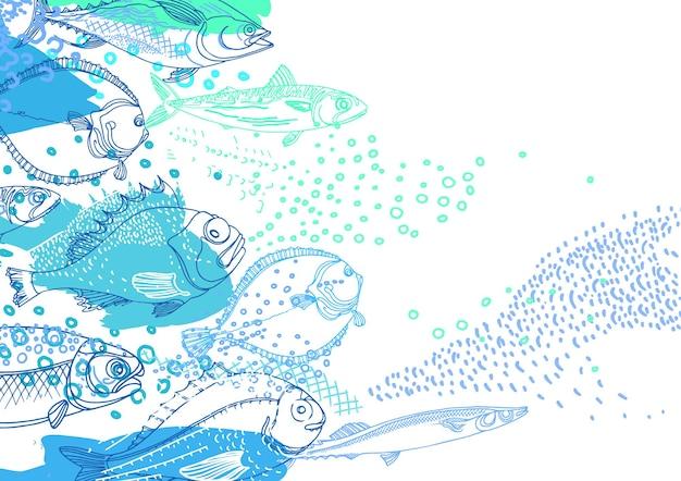 Морской фон природы морской рыбы каракули искусства иллюстрации окунь треска скумбрия камбала сайра