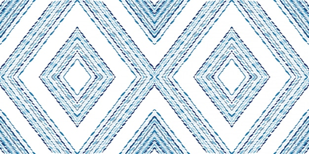 Marine batik geometry seamless pattern. cornflower triangles indian vector motif. rhombus fashion print. mexican shibori repeat watercolor motif.