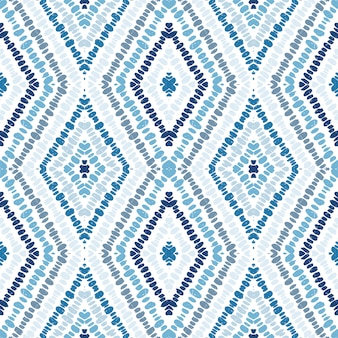 Marine batik geometry seamless pattern. cornflower triangles indian vector motif. rhombus fashion print. stripes.