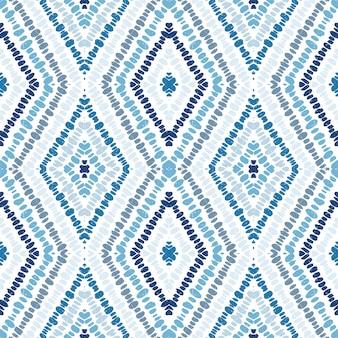 海洋バティックジオメトリのシームレスパターン。コーンフラワー三角形インドベクトルモチーフ。ひし形のファッションプリント。ストライプ。