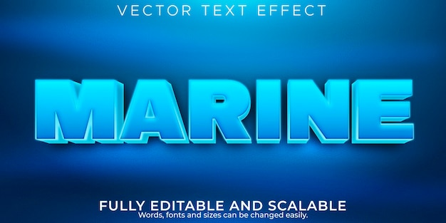 Marine blue text effect, editable sea and water text style