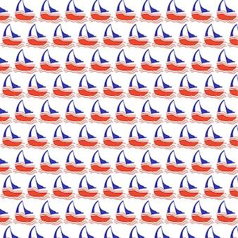 해양 보트 원활한 벡터 패턴 배경