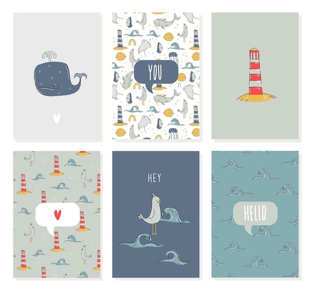 Морская открытка с морскими животными, китом, маяком в рисованном стиле на день рождения