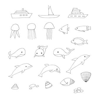 Набор морских клипартов, лодки, медузы, рыбы, киты, дельфины, ракушки и галька, векторные иллюстрации, каракулей, рисованной
