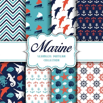Marine collection of seamless patterns