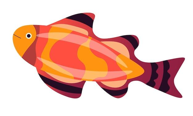 해양 생물, 수영 금붕어의 고립 된 아이콘입니다. 바다나 바다에 색깔 지느러미, 수족관 또는 야생 동물이 있는 동물. 이국적인 또는 열대 염수 거주자. 평면 스타일의 수중 문자 벡터