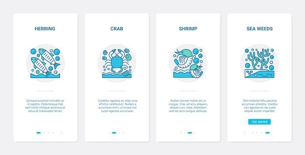 Морские ракообразные рыбы и подводные морские растения. ux, пользовательский интерфейс для мобильного приложения, набор символов морской жизни, сельдь, краб, креветка, креветка, водоросли, водоросли, коллекция ламинарии