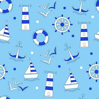 Marine elements blue pattern