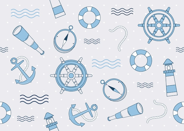 Marine elements and decoration pattern seamless background