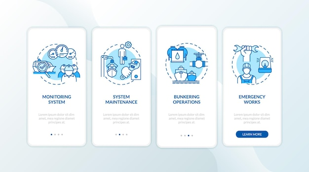 Marine engineering onboarding mobile app page screen with concepts set. water vessel engine operation walkthrough 4 steps graphic instructions. ui vector template with rgb color illustrations