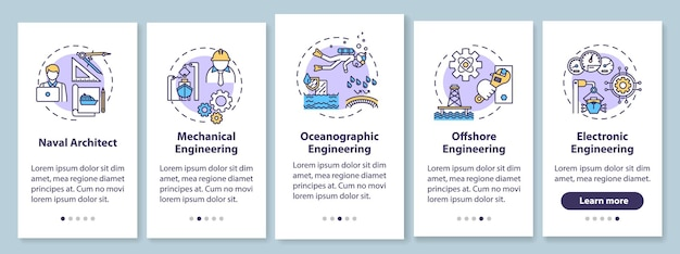 해양 공학 유형은 개념이 있는 모바일 앱 페이지 화면을 온보딩합니다. 해군 건축가. 근해 작업 연습 5단계 그래픽 지침. rgb 컬러 일러스트가 있는 ui 벡터 템플릿