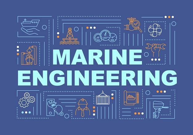 해양 공학 단어 개념 배너입니다. 선박 제조. 물 용기 유지 보수. 파란색 배경에 선형 아이콘으로 인포 그래픽입니다. 격리 된 인쇄 술입니다. 벡터 개요 rgb 컬러 일러스트